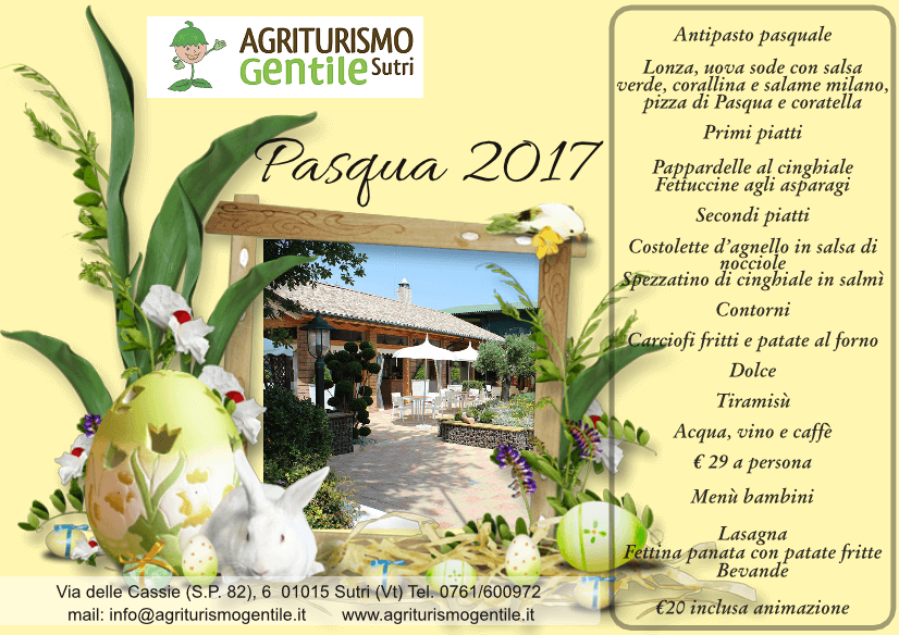 Pranzo di pasqua 2017 agriturismo gentile for Pranzo di pasqua in agriturismo lombardia